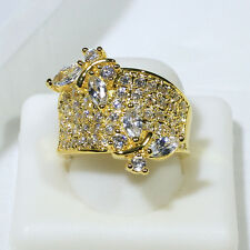 18K Yellow Gold Filled AAA CZ Lady Fashion Jewelry Butterfly Ring R1344 Size 6