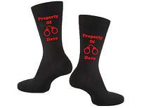 Ladies Personalised Vinyl Printed Valentines Day Property Of Novelty Gift Socks