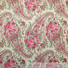 BonEful Fabric Cotton Quilt VTG Green Pink Paisley Flower Shabby Chic Sale SCRAP