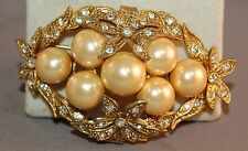 DECADENT Domed Faux Golden Pearl Floral Framed Rhinestone Inset Antique Brooch!