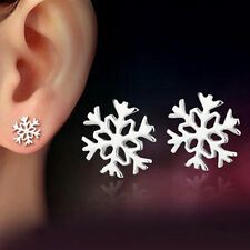 Silver Flower Snowflake Ear Stud Earrings Christmas Gift Women Fashion Jewelry