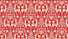 "Christmas SCANDI Reindeer RED cotton fabric Size 22"" x18"" larger available"