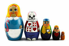 Matryoshka Russian Nesting Doll Babushka Matrioshka Alice in Wonderland 5 Pc