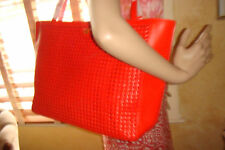 NWT TORY BURCH ERICA Poppy RED Leather X-Large TOTE $550 DustBag