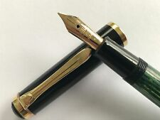 Vintage Pelikan 400 fountain pen, Green Striated, 14k M.O. nib, Serviced, 1950's