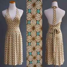 Diane Von Furstenberg DVF 100% Silk Jersey Halter Dress Cream Turquoise Floral 4