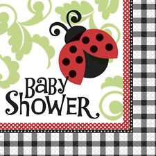 """Lively Ladybugs"" BABY SHOWER Party Supplies Large Luncheon NAPKINS NEW"