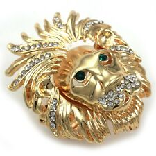 Gold Tone Lion Head Ring Adjustable Stretch Metal Band Men Women Ladies Jewelry