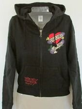 NWT Ed Hardy Tattoo Graphic Black Hoodie Size S Red Heart True Love Design
