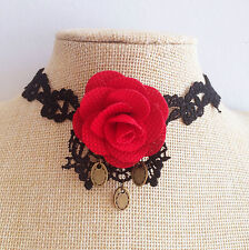 Halloween Witch Black lace Gothic Victoria Vintage rose Vampire Chocker Necklace