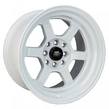 MST Wheels Time Attack Rims 15x8 4x100 +0 Offset Stepped Lip Glossy White