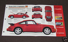 1990-1995 PORSCHE 911 TURBO (1991) Car SPEC SHEET BROCHURE PHOTO BOOKLET