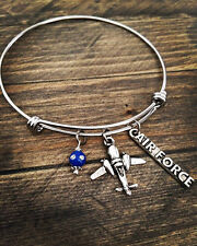 Air Force Wife Mom Girlfriend Mother Sister Bangle Charm Bracelet Military Gift