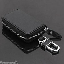 HX Unisex Real Leather Car Key Chain Holder Card Case Key Bag Coin Pocket