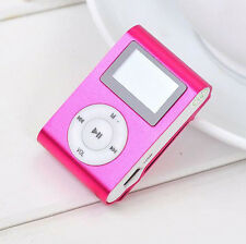 Protable USB Clip MP3 Player LCD Screen Support 32GB Micro SD TF Card Hot Pink