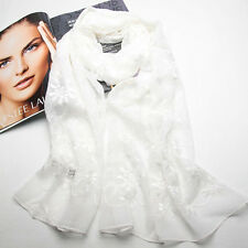 """100% Silk Scarf 71x22"""" Embroidery Georgette Shawl Wrap Solid color White 118-006"""