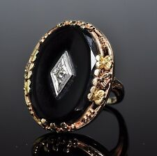 Antique Victorian 10K Rose Gold X Large Oval Faceted Black Onyx Diamond Ring