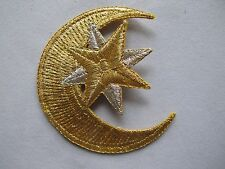 #5005 Golden Moon,Golden,Silver Star Embroidery Iron On Applique Patch