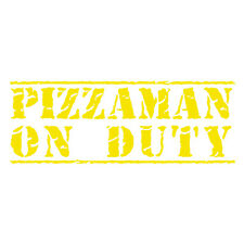 Pizzaman On Duty Pizza Delivery Funny Car Van Bumper Decal Sticker Lemon Yellow