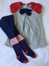 Baby Gap Dress Short Sleeves & Bow - Red/Blue/Gray 12-18M with Patterned Tights