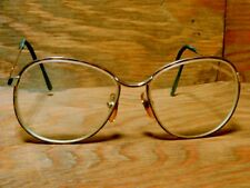 Vtg 70s Marchon Eyeglasses Amber Gold Large Marcolin Frames Made in Italy w Case
