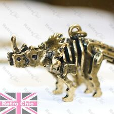 LARGE DINOSAUR pendant NECKLACE vintage brass TRICERATOPS 3D skeleton vegetarian