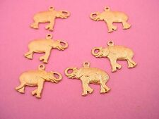 6 brass elephant left and right 17mm jungle miniature charms Zoo