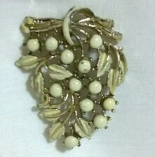 Vintage 1950s CORO white enamel celluloid coated silver tone brooch pin bridal