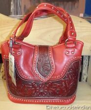 RED WESTERN PU & Genuine Leather CONCEALED Handgun Purse Handbag $99.00 Retail
