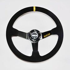 BLACK-DEEP-DISH-DRIFTING-TRACK-CAR-STEERING-WHEEL-RACE-SPORTS-DRIFT-LEATHE