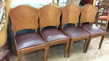 Set up for art deco oak chairs with leather seats Lot 362