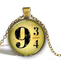 Vintage 3/4 and 9 Platform Cabochon Photo Bronze Glass Chain Pendant Necklace