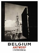 TRAVEL TOURISM BELGIUM ANTWERP CATHEDRAL SPIRE WINDOW ROOFTOP POSTER LV4137
