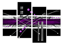 "PURPLE BLACK GREY ABSTRACT CANVAS WALL ART PICTURE MULTI 4 PANEL 40"" X 28"""