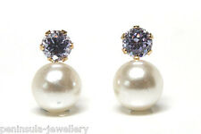 9ct Gold Pearl and Lilac Stud earrings Made in UK Gift Boxed