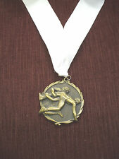 "gold  WRESTLING 2 1/2"" dia medal white neck drape"