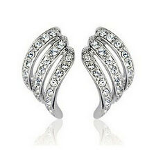 Swarovski Elements Crystal ANGEL WINGS White Gold Plated Ear Stud Earrings
