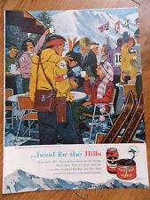 1960 Hills Bros Coffee Ad Skiing Theme High in the Sierras Squaw Valley Olympics
