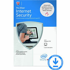 McAfee Internet Security 5 YEARS 1 PC 2017 2016 2015 Antivirus Download License