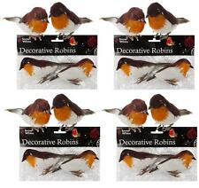 8 x Robins Decoration Wire Christmas Model Artificial Birds Feather Tree Craft