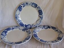 3 Oneida Fruit on Canvas White Blue Apple Pear Grape Rim Dinner Plate Dish RARE!