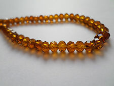 50 x Faceted Glass Beads - Rondelle - 6mm x 4mm [Various Colours Available]