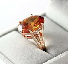 STUNNING LARGE 18K ROSE GOLD PLATED TOPAZ GENUINE CUBIC ZIRCONIA STATEMENT RING
