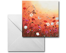 Colourful butterfly Greeting Card from artist Amanda Dagg square blank inside