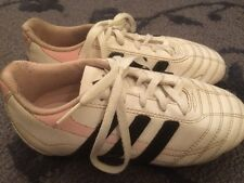 ADIDAS Girls White & Pink Soccer Shoes Cleats, Size 13.5 Kids