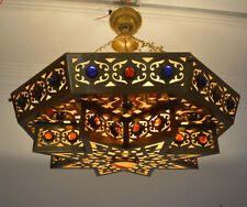 Handcrafted Moroccan Matte Gold Brass Jeweled Chandelier Ceiling Light fixture
