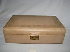 Vintage Pretty Dusty Pink  Tooled Jewelry Box  Velvet Lining