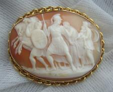 Very Rare Victorian Shell CAMEO Brooch of HECTOR before his fight with ACHILLES