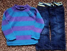 Girl's Size 24 M Months 2 Pc Purple Blue Striped PLACE Sweater & Old Navy Jeans