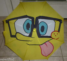 SPONGEBOB CHILD SIZE UMBRELLA~NEW~YELLOW~SPONGEBOB HANDLE~RAINY WEATHER PROTECT
